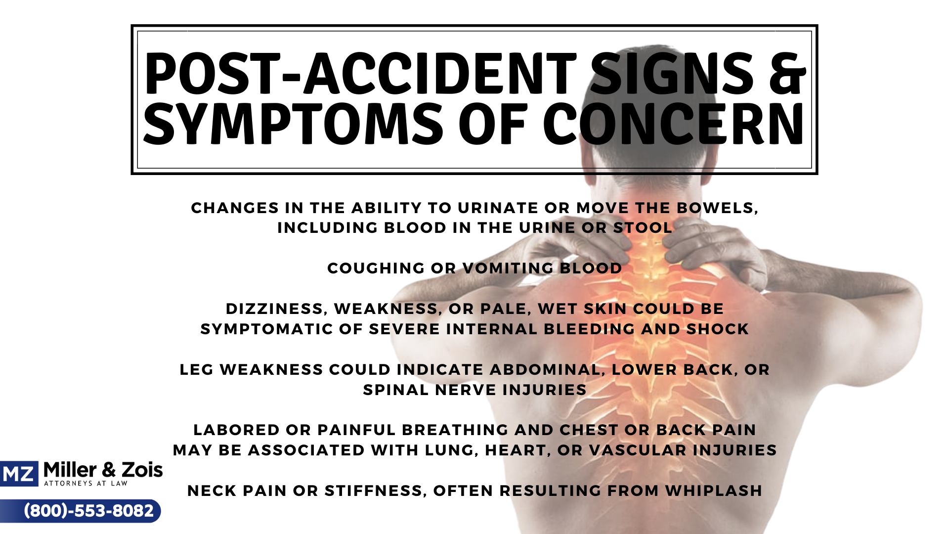 post-accident signs symptoms
