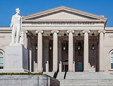 District of Columbia Court of Appeals building with Abraham Lincoln statue
