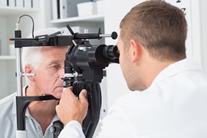 Patient doing an Eye Exam